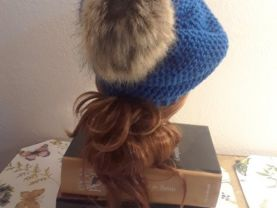 Adult size, Blue beanie with tan pom-pom