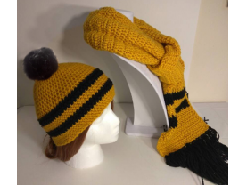 Harry Potter inspired, Hufflepuff, matching hat and scarf set