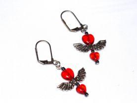 Handmade red earrings, red glass heart beads, angel wings bead, luster black seed beads