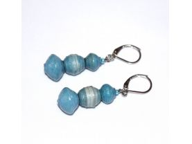 Handmade blue earrings, pale to medium blue paper beads