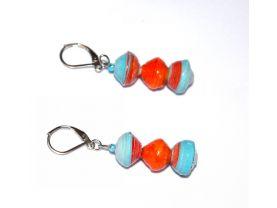 Handmade cyan and orange earrings, cyan blue and orage rolled paper beads