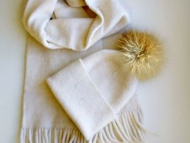 Knitted set white, winter accessory