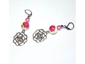 Handmade rose earrings, antiqued silver rose charm, painted porcelain bead, lilac metallic bead