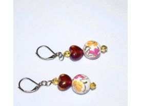 Handmade earrings with ruby red pearlized glass heart, porcelain flower painted bead, pale yellow crystals