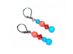 Handmade coral and blue earrings, mismatched, coral crystal and wood, sky blue magnesite beads