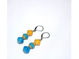 Handmade yellow and blue earrings, rolled paper beads