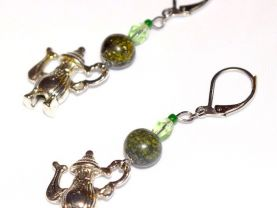 Handmade teapot earrings, green serpentine and crystal beads, Mad Hatter™s teapot charm