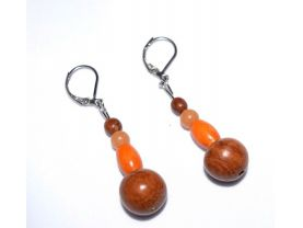 Handmade earrings, vintage brown and orange wood beads with aventurine