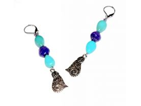Handmade cat earrings, turquoise resin teardrops, purple paper bead, cat charm