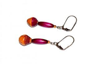 Handmade purple earrings, purple wood oval tube and mismatched orange-brown paper beads
