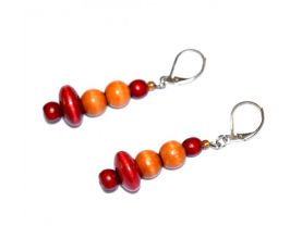 Handmade vintage wood earrings, golden brown wood rounds and cranberry colored wood beads
