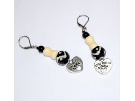 Handmade dog lover earrings, black and off-white glass, onyx, howlite and resin beads, heart pawprint charm