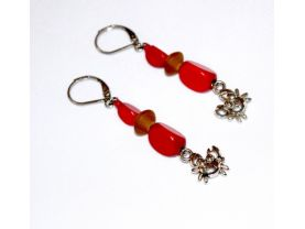 Handmade red crab earrings, vintage red wood, brown saucer beads, crab charm