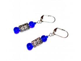Handmade blue earrings, cobalt blue glass beads, silver flower bead