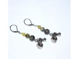 Handmade green tractor earrings, serpentine beads, tractor charm