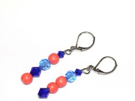 Handmade mismatched earrings, coral wood beads  and blue crystals