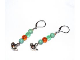 Handmade teapot earrings, green and brown lampworked and green magnesite beads, teapot charms