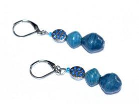 Handmade blue earrings, flower bead, blue rolled paper beads