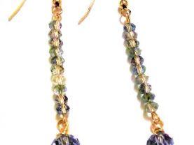 Denim Blue Earrings, Blue Earrings, Crystal Earrings, Dangle Earrings, Long Earrings, Drop Earrings, Party Earrings, Everyday Earrings