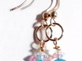 Gold Earrings, Blue Fire Agate Earrings, Crystal Earrings, Blue Earrings, Clear Crystal Earrings, Dangle Earrings, Gift for Mom, For Her
