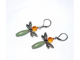 Handmade dragon fly earrings, green magnesite tube, honey glass round, dragonfly wings