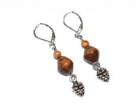 Handmade pinecone earrings, brown paper and jasper beads, pinecone charm