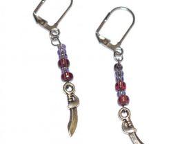 Handmade sword earrings, purple seed beads, curved sword charm