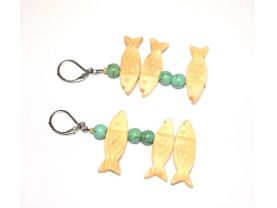 Handmade fish earrings, bone fish beads, green magnesite beads, mismatched