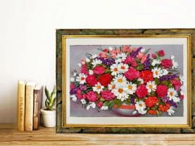 bouquet of roses and daisies 3d flower art floral surprise handmade silk ribbons hand embroidery art 3d flower decor wall embroidery