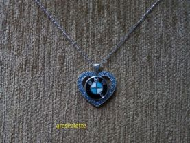 BMW Blue Love necklace.-Special Design BMW Love Necklace with Blue Swarovski