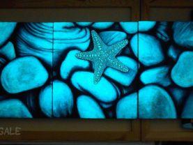 Set of 3 Original Starfish Glow in the Dark Paintings, Original Painting, Acrylic on Canvas, Sea, Stones, Nature, Glow in the Dark, Painting