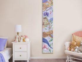 Growth chart, Growth ruler, Gift for baby, nursery decor, Botanic wall decor, flower