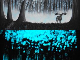 Glow in the dark Art Deer Forest Original Acrylic Painting 2 in 1 Deer woods enchanted forest magical fantasy art