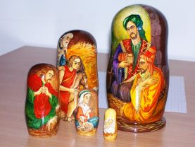 Nativity Nesting Doll (wooden doll/art doll) about Christ