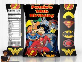 Justice League Chip Bag, Justice League Favor Bags, Justice League Bags, Justice League Party Decor, Justice League Custom Party Favor
