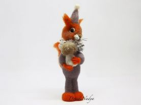 Needle felted squirrel with boletus. Collectible doll fluffy small squirell with mushroom. Birthday gift. Gift for mother. Gift for him