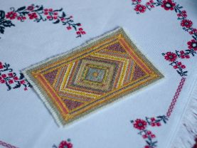 Miniature Oriental hand embroidered carpet/rug, 1/12 scale, dollhouse rug/carpet/ miniature decor/ miniature collectible