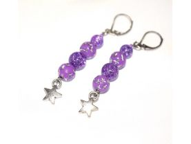 Handmade purple star earrings, purple crackle glass and acrylic beads, star charm