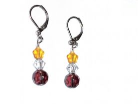Handmade purple, honey & white earrings,faceted purple and clear crystals topped by honey star
