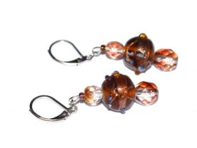 Handmade sparkling brown red earrings, lampworked brown and copper beads accented by red firepolished crystals