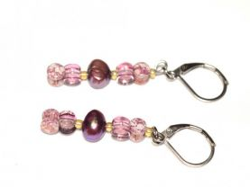 Handmade purple earrings, purple pearls and pellets beads, pale amber seed beads