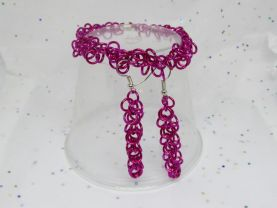 Pink Shaggy Loops Bracelet and Earrings Set