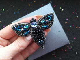 Moth beaded brooch