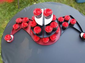 Harley Quinn Deadpool Cupcake Stand Deadpool and Harley Quinn Centerpiece, Marvel comics 3D print, Superhero wall art