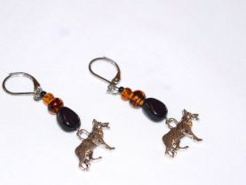 Handmade GSD earrings, tortoise shell  and amber glass beads, black glass teardrop, German Shepherd Dog charm