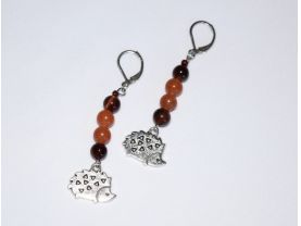 Hedgehog earrings with red tigers eye and red aventurine beads, hedgehog charm