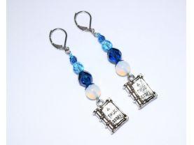 Book earrings with aqua and capri blue crystals