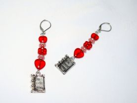 Handmade red book earrings with book charm topped by red beads
