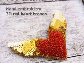 red heart brooch, brooch making, how to make brooch, pdf brooch, photo tutorial, beadwork tutorial
