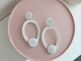 Soutache  earrings, weddind earrings, white handmade jewelry